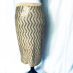 Necessary Clothing Gold Sequin Pencil Skirt